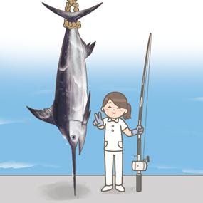 カジキを釣った看護師のイラスト