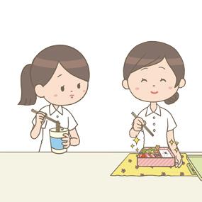 お料理上手な同僚のお弁当を羨ましそうに見つめる看護師のイラスト