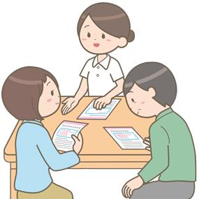 患者と家族にパンフレットを用いて説明をする看護師のイラスト