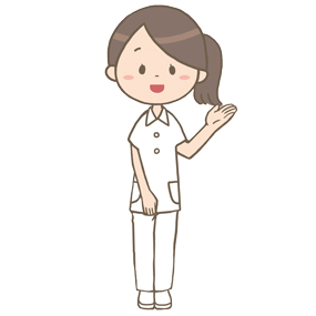 案内をする看護師のイラスト(左手)