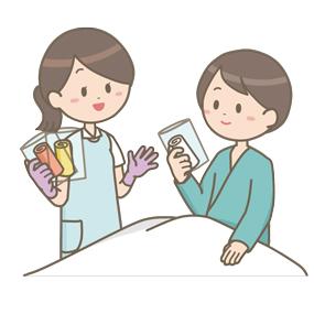 患者に清拭用のタオルを手渡す看護師のイラスト