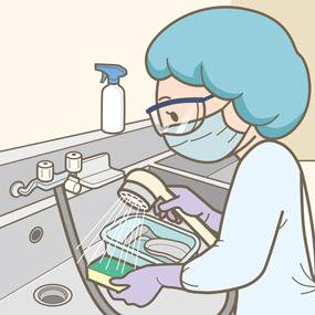 医療器具を手洗浄する看護師のイラスト
