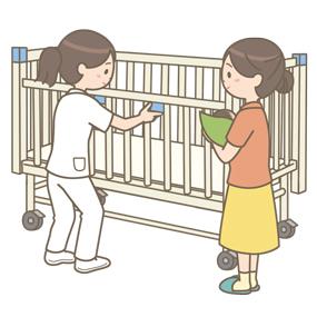 家族(母親)に小児用ベッドの使い方をレクチャーする看護師のイラスト