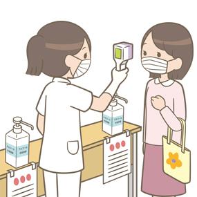 新型コロナ対策のため検温している看護師のイラスト