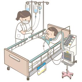 ルート類の整理をする看護師のイラストです。絡まらないように調整をしています。