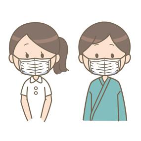 マスクを着用する看護師と患者のイラスト(正しい例)