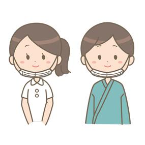 マスクを着用する看護師と患者のイラスト(鼻と口が出ている例)