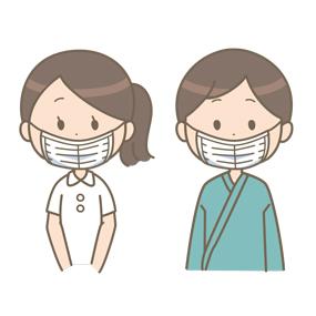 マスクを着用する看護師と患者のイラスト(鼻だけ出ている例)