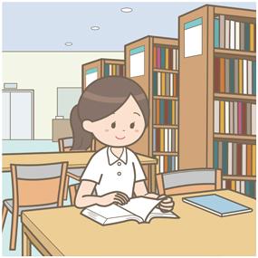 病院の図書室で本を読んでいる看護師のイラストです