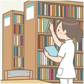 病院の図書室で本を探している看護師のイラスト