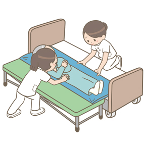 スライディングボードを使用して患者さんを移乗している看護師のイラスト