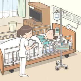 看護師が担当患者のもとへ訪室しているイラスト