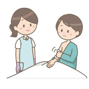 患者が清拭をするのを見守る看護師のイラスト