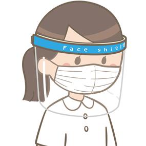 フェイスシールドとマスクをつけている看護師のイラスト