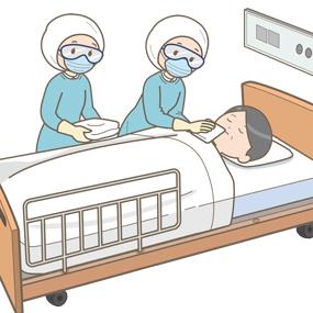 防護具を着てエンゼルケアをする看護師のイラストです