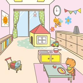 保育園の室内のイラスト