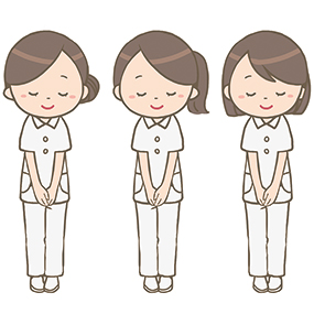 3人の看護師がお辞儀をしているイラスト