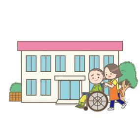 介護施設のイラストです。介護士さんが車椅子に乗った高齢者(利用者)の方を散歩に連れ出しています。
