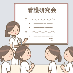 看護学生が実習での学びを発表しているイラスト