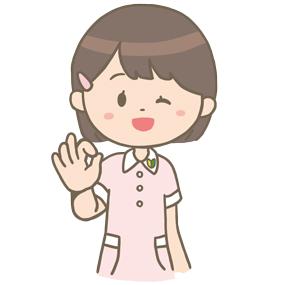 指でOKサインを出している看護学生のイラスト※上半身のみ