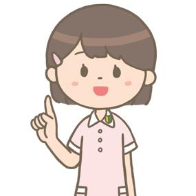 人差指を立てて説明する看護学生のイラスト※上半身のみ