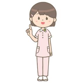 人差指を立てて説明する看護学生の全身イラスト