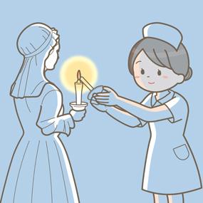 ナイチンゲール像から灯(ロウソク)を受け継ぐ看護学生のイラスト