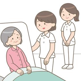 患者さんと看護学生が病室でお話しているイラスト