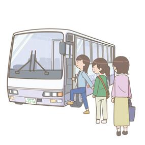 スクールバスに乗り込む看護学生のイラスト