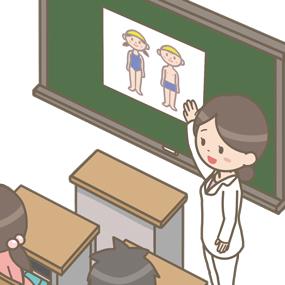 養護教諭が学生に性教育を行っているイラスト