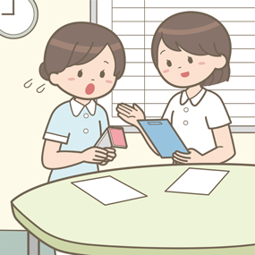 看護学生が指導者に実習の行動計画を相談しているイラスト