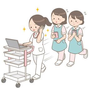 実習で看護師の後ろを必死について歩く看護学生のイラストです