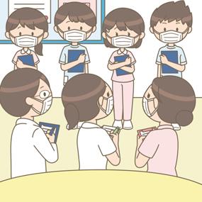 ナースステーションで看護学生(4人)が挨拶をしているイラスト