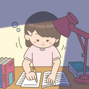 不眠不休で実習の課題をしている看護学生のイラストです
