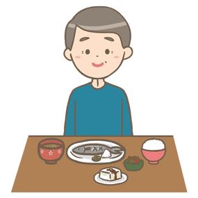栄養バランスの取れた食事をする男性のイラスト