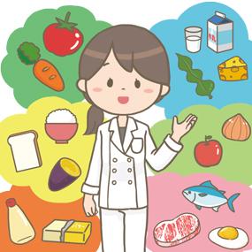 栄養指導で、管理栄養士さんが6つの基礎食品群について説明をしているイラストです。