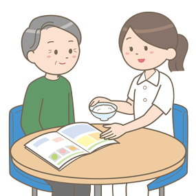 看護師さんが栄養指導をしているイラストです。パンフレットを用いながら、高齢男性患者さんに指導をしています。