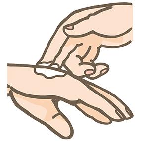 塗り薬(軟膏)を手の甲に塗るイラスト