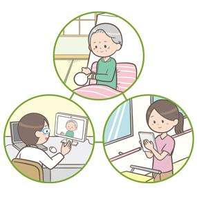 オンライン診療(医師・患者・看護師)のイラスト