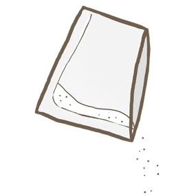 開封された粉薬のイラスト