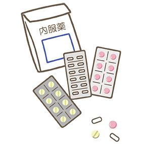内服薬と藥袋、PTP包装シートのイラスト