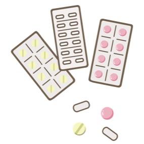 いろいろな形や色の内服薬(経口摂取薬)の錠剤、カプセルが、PTP包装シートの状態と中味が散らばった状態のイラストです。