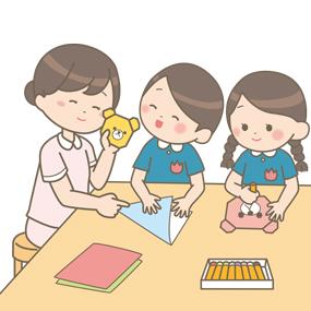 看護学生が幼稚園の幼児のお世話をしているイラスト