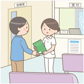 外来で看護師が患者にファイルを渡しているイラスト