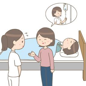 患者さんのご家族が同業者でドギマギする看護師のイラスト