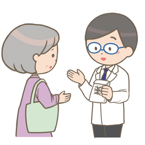 医師が服薬指導を行っているイラスト