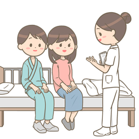 患者さんご夫婦に説明をしている看護師のイラスト