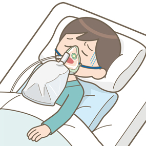 リザーバー付マスクを装着し、セミファーラー位になる患者のイラスト