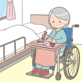 ベッドサイドで車いすに乗り食事をする患者のイラスト