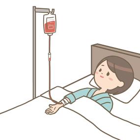 がん患者さんが赤色の抗がん剤点滴を投与されているイラスト